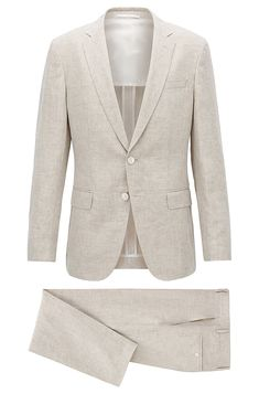 Slim-fit suit in yarn-dyed mélange linen - Natural Suits from BOSS for Men in the official HUGO BOSS Online Store free shipping