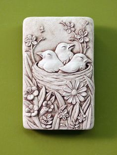 1279 Cozy Nest #carruth #nest #birds #gift #plaque #flowers #handmade #usa