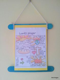 We were learning about the Lord's Prayer in our pre-schoolers Kids Church class, so I made a wall-hanging, so they could take something home that would remind them of what Jesus prayed. Most of this template is from:  http://flamecreativekids.blogspot.co.nz/2013/06/lords-prayer-cards.html , but I changed a few things ('Hallowed' for 'Holy', & replaced the bottom left pic).