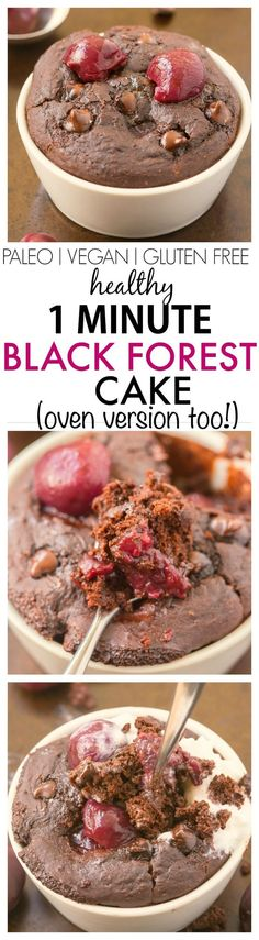 Healthy 1 Minute Black Forest Cake- Fluffy and light on the inside tender on the outside- NO butter oil sugar or grains! Vegan Sweets, Healthy Sweets, Vegan Desserts, Healthy Snacks, Healthy Eating, Dairy Free Recipes, Paleo Recipes, Low Carb Recipes, Cooking Recipes