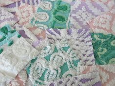 Girls Spring mix Chenille Bedspread squares-  20 precut 6 inch squares / Vintage Chenille. $20.00, via Etsy.