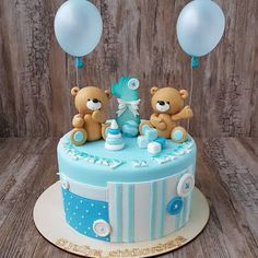 Aprende cómo hacer un osito para decorar pasteles de cumpleaños - Toddler Birthday Cakes, Baby Boy Birthday Cake, Cute Birthday Cakes, Bear Birthday, Torta Baby Shower, Teddy Bear Cakes, Baby Shower Balloons, Grapefruit Curd, Bubble Cake