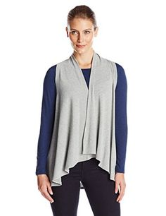 Karen Kane Womens Sweater Vest Light Heather Gray XSmall ** Click on the image for additional details.