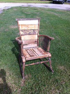 rocking chair made with barn wood | Reclaimed repurposed barn wood rocking chair, by Cowgirl Mafia FIND ...