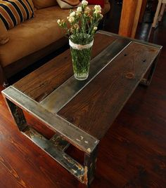 Handmade Reclaimed Wood & Steel Coffee Table - Vintage Rustic Industrial Coffee…