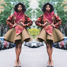 Great idea, love the overly large skater skirt! And the jacket... Ooh la la!