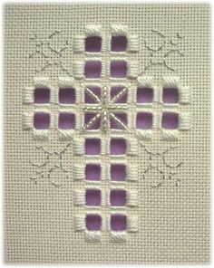 A simple cross enhanced with backstitch scrolls in colourful silk and some unusual beading, perfect to celebrate a baptism, confirmation or church wedding. With silver braid and silver grey beads it would make a beautiful sympathy card. Size: 68h x 52w each Special materials: Mill