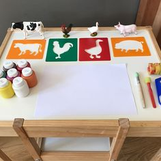 Montessori art shelf idea - I've had this creative activity waiting in the draw so when Eva brought me her paints this morning I thought it was a perfect opportunity to introduce her to stencils. I encouraged her to look at the colours of the animals and assisted when needed. She learnt the word 'stencil' and really used her observational skills during the activity.