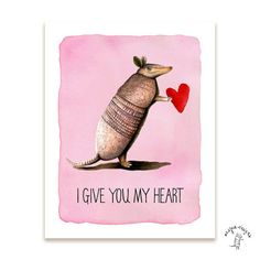 My Heart Armadillo Love Print by aespiedesigns on Etsy