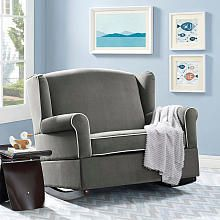 Baby Relax Lainey Wingback Chair and a Half Rocker - Graphite Gray