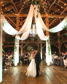barn wedding reception ideas with draping fabric and lighting Wedding Reception Ideas, Barn Wedding Venue, Wedding Dinner, Wedding Ceremony Decorations, Wedding Night, Wedding Rustic, Wedding Draping, Light Wedding, Wedding Church