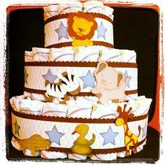 Boy/animal diaper cake