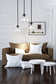 Trio of glass pendants in a contemporary living room. Multi Luminaire, Kitchen Dining, Dining Room, Glass Pendants, Decoration, Light Fixtures, Ceiling Lights, Bathroom, Table