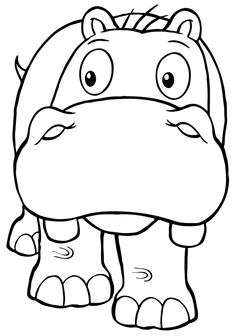 Hippo Coloring Page 05 printable coloring page for kids