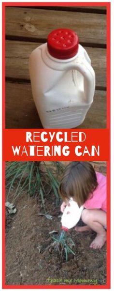 Watering can reusing a milk bottle!