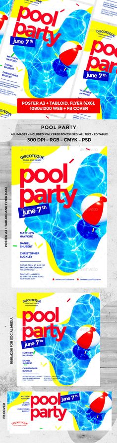 Summer Beach Flyer Flyer template and Party flyer - pool party flyer template