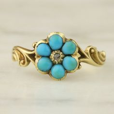 Antique Victorian 18k Yellow Gold Turquoise and by ArtifactVintage, $795.00