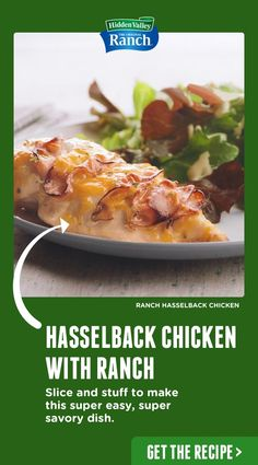 Ranch Hasselback Chicken Hasselback Chicken with Ranch is our newest obsession! It's made with our Original Ranch Seasoning Shaker. Tap the pin to get the recipe. Poulet Hasselback, Hasselback Chicken, Baked Chicken, Easy Chicken Recipes, Turkey Recipes, Meat Recipes, Cooking Recipes, Healthy Recipes, Recipies