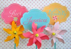 Pinwheel Party PRINTABLE DIY Birthday Name Tags from by lovetheday, $8.00