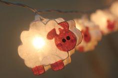 20 Battery Powered LED moutons mûrier lanternes en papier par ginew