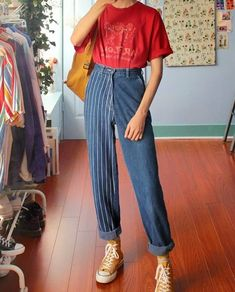 Fashion Vertical Striped Straight Denim Bukser - Lilly is Love Mode Outfits, Retro Outfits, Vintage Outfits, Vintage Pants, Vintage Clothing Styles, 80s Clothing, Hipster Outfits, Stylish Outfits, 90s Fashion