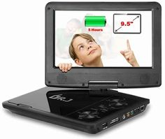 "DR.J 9.5"" Swivel Screen Portable DVD Player"