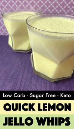 Lemonade Jello Whips [Sugar Free & Keto] This recipe for Lemonade Sugar Free Jello Whips is a creamy, fruity treat with only 35 calories and net carbs per serving. It's a low carb dessert that you can whip up in no time. Keto Desserts, Sugar Free Desserts, Sugar Free Recipes, Low Calorie Desserts, Low Carb Cake, Low Carb Keto, Low Carb Deserts, Low Carb Sweets, Diabetic Recipes