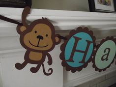 Monkey Happy Birthday Banner  Boy Birthday by Creative Party Banners