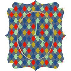 Caroline Okun Cerise Quatrefoil Clock #geometric #red #blue #yellow