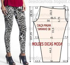 CALÇA LEGGING ESTAMPADA -31 - Moldes Moda por Medida