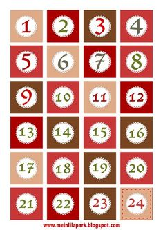Free printable number (1-24) label sheet, Christmas advent countdown tags freebie | MeinLilaPark