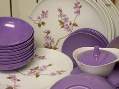 Most popular tags for this image include: purple, dishes, vintage, retro and shabby chic