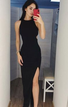 Black Prom Dress Slit Skirt, Evening Dress, Dance Dresses, Graduation School Party Gown · Grace Girls Dress · Online Store Powered by Storenvy Robes D'occasion, Evening Dresses, Formal Dresses, Long Dresses, Dresses Dresses, Long Slit Dress, Tailored Dresses, Halter Dresses, Summer Dresses