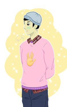 pastel beanie Spock 💕 fanart by quivere