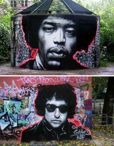 musical graffiti icons - Jimi Hendrix and Bob Dylan.   Artist: MTO #music #graffiti #art