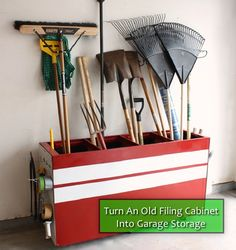 How To Turn An Old Filing Cabinet Into Garage Storage...http://homestead-and-survival.com/how-to-turn-an-old-filing-cabinet-into-garage-storage/