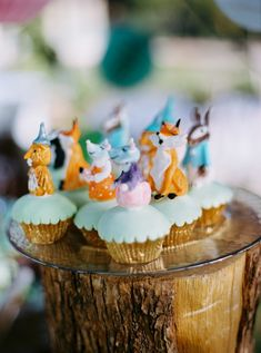 """Cute little """"animal"""" cupcakes to complement beautifully a fairytale baptism! #eliteeventsathens #inthewoods #fairytale #story #magic #baptism #christening #eventplanning #decoration #candybar #desserts #cupcakes #athens #greece"""
