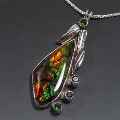 Handmade Ammolite Pendant  Sterling Silver by JazznJewelry on Etsy