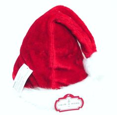 """Trim A Home 17"""" Deluxe Red Furry Santa Hat Size Large Fits Most Adults #TrimAHome"""