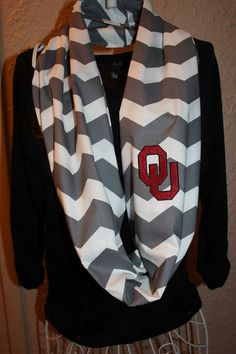 University of Oklahoma OU Monogram Chevron Infinity Scarf