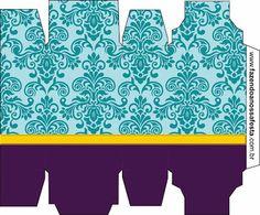 Azul Arabesco Roxo e Dourado - Kit Completo com molduras para convites, rótulos para guloseimas, lembrancinhas e imagens!