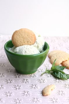 Basil Ice Cream! I think I'll try this with my favorite cinnamon basil- yummy!