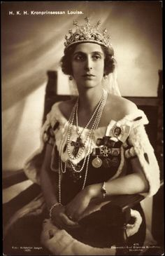 Princess Louise of Battenberg, Crown Princess of Sweden - the nine prong tiara still owned by the Swedish Royal family