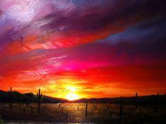 Arizona Desert Sunset Painting by Greg Cartmell