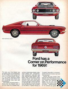 1969 Ford Mustang Mach 1 Advertising Hot Rod Magazine October 1968 by SenseiAlan, via Flickr