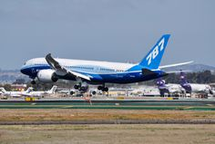 Boeing 787-8 about to touch down in San Diego for the very first time. Photo taken on March 12, 2012.