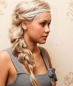 Grecian Hairstyles: Distressed Braid And Pearl Headband