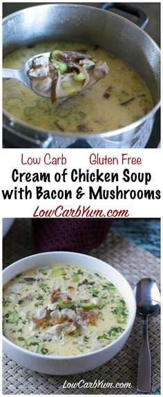 Warm up with some delicious low carb cream of chicken soup with bacon and mushrooms. It's sure to take the chill out on a cool fall or winter day and satisfy hunger. LCHF Keto Banting Recipe
