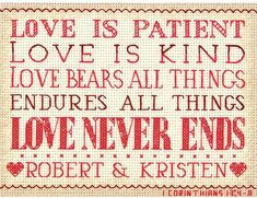 Dimensions Love Is Patient - Cross Stitch Kit. Love and marriage themed cross stitch kit featuring 1 Corinthians 13 Love is patient, love is kind, love bears al