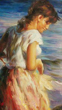 Dettaglio di fanciulla. Quadro dipinto dagli artisti di Tutti Quadri. Copia di un quadro di Sorolla. Impressionismo spagnolo
